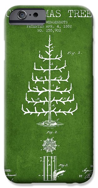 Christmas iPhone Cases - Christmas Tree Patent from 1882 - Green iPhone Case by Aged Pixel