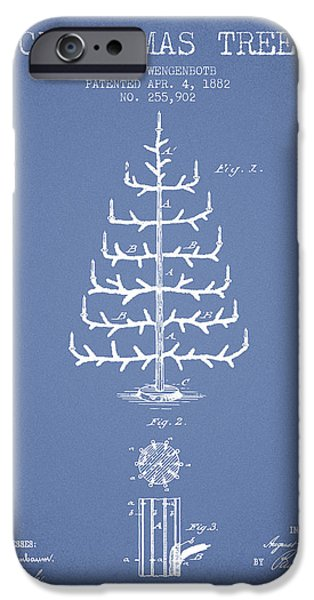 Christmas iPhone Cases - Christmas Tree Patent from 1882 - Light Blue iPhone Case by Aged Pixel
