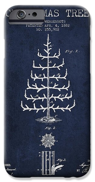 Christmas iPhone Cases - Christmas Tree Patent from 1882 - Navy Blue iPhone Case by Aged Pixel