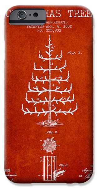 Christmas iPhone Cases - Christmas Tree Patent from 1882 - Red iPhone Case by Aged Pixel