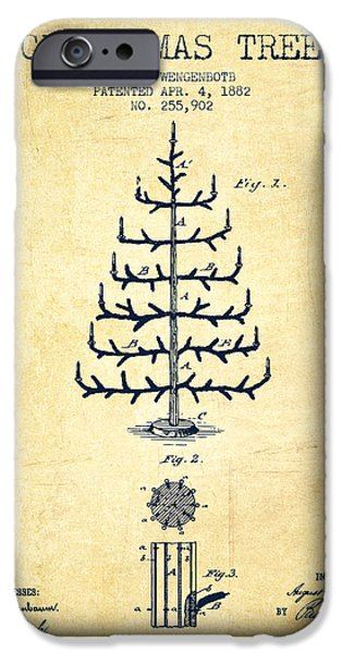 Christmas iPhone Cases - Christmas Tree Patent from 1882 - Vintage iPhone Case by Aged Pixel