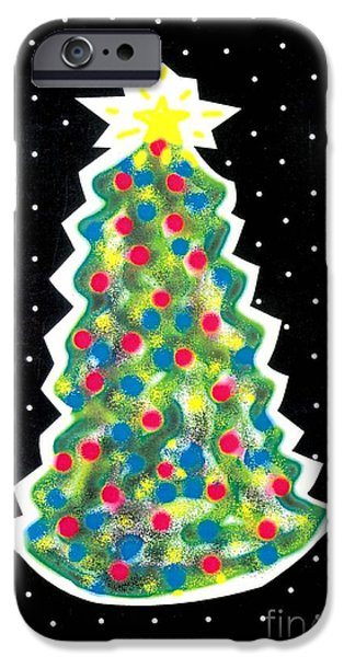 Christmas Tree Polkadots iPhone Case by Genevieve Esson