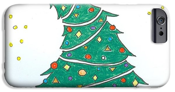 Christmas Eve Drawings iPhone Cases - Christmas Tree iPhone Case by Ralf Schulze