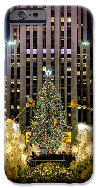 Landscape iPhone Cases - Christmas Tree Rockefeller Center  NYC iPhone Case by Susan Candelario