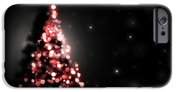 Christmas Eve Digital Art iPhone Cases - Christmas tree shining on black background iPhone Case by Michal Bednarek