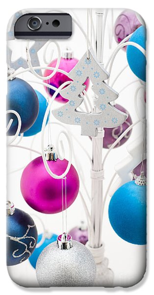 Silver Turquoise iPhone Cases - Christmas Tree Tree iPhone Case by Anne Gilbert