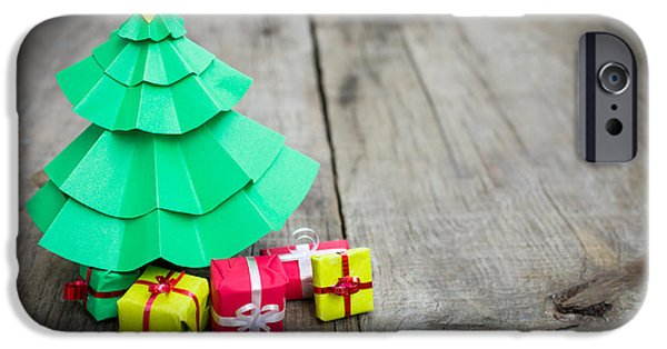 Christmas iPhone Cases - Christmas Tree With Presents iPhone Case by Aged Pixel