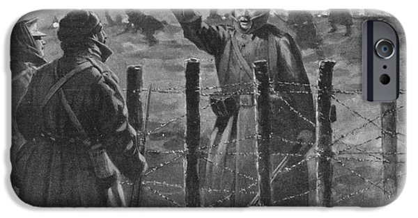 Christmas Greeting iPhone Cases - Christmas Truce In 1914, World War I iPhone Case by British Library