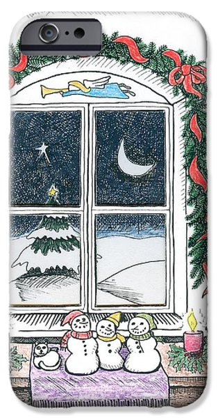 Christmas Eve Drawings iPhone Cases - Christmas Window iPhone Case by Ralf Schulze