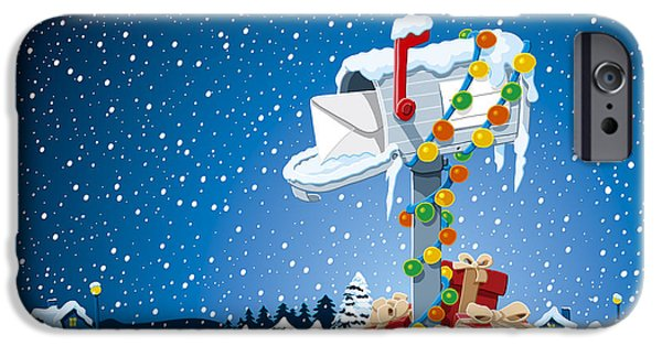 Ramspott iPhone Cases - Christmas Winter Landscape Mailbox Gift Boxes iPhone Case by Frank Ramspott
