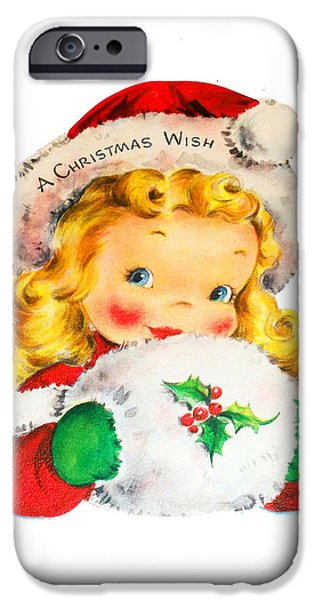 Little Girl iPhone Cases - Christmas Wish iPhone Case by Munir Alawi
