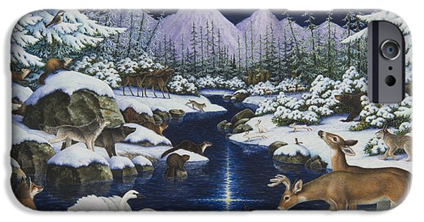 Bobcats Paintings iPhone Cases - Christmas Wonder iPhone Case by Lynn Bywaters