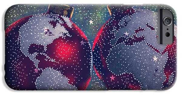 Night Lamp iPhone Cases - Seasons Joy iPhone Case by Karunita Kapoor