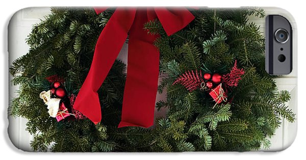 East Village iPhone Cases - Christmas Wreath iPhone Case by John Rizzuto