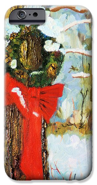 Michael Paintings iPhone Cases - Christmas Wreath iPhone Case by Michael Daniels
