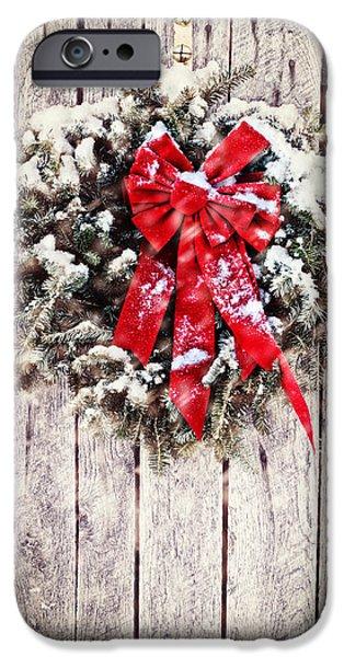Snowy Night iPhone Cases - Christmas Wreath on Barn Door iPhone Case by Stephanie Frey