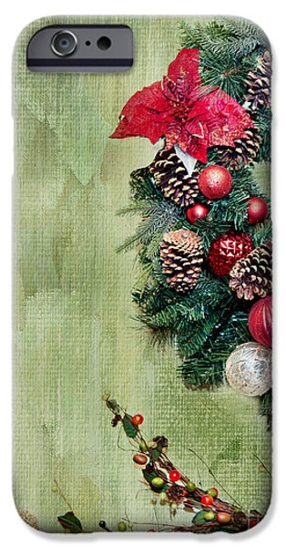 Pine Cones Photographs iPhone Cases - Christmas Wreath iPhone Case by Rebecca Cozart