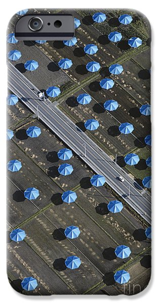 Installation Art Photographs iPhone Cases - Christo Umbrellas in Japan iPhone Case by Georg Gerster