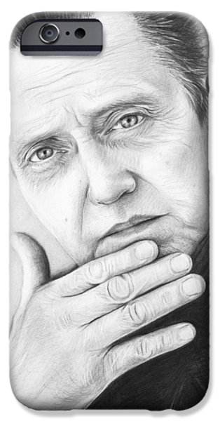 Black Portrait Drawings iPhone Cases - Christopher Walken iPhone Case by Olga Shvartsur