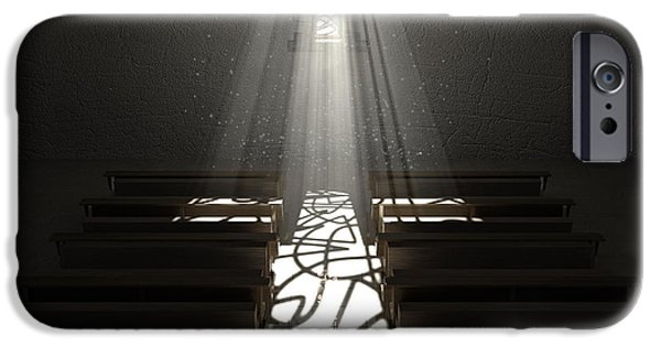 Radiating Light iPhone Cases - Christs Light In The Dark iPhone Case by Allan Swart