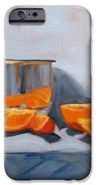Stainless Steel Paintings iPhone Cases - Chrome and Oranges iPhone Case by Nancy Merkle