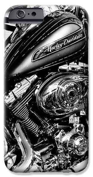 Monochrome iPhone Cases - Chromed Harley Monochrome iPhone Case by Tim Gainey