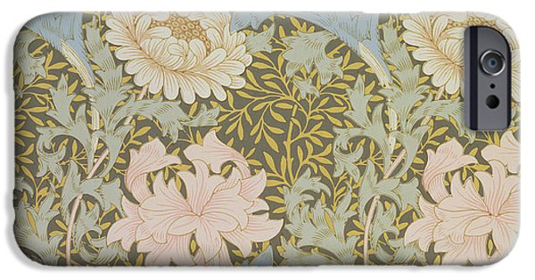Florals iPhone Cases - Chrysanthemum Wallpaper iPhone Case by William Morris