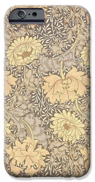 Design Tapestries - Textiles iPhone Cases - Chrysanthemum iPhone Case by William Morris