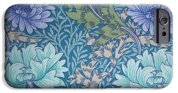 Fabric Tapestries - Textiles iPhone Cases - Chrysanthemums in Blue iPhone Case by William Morris