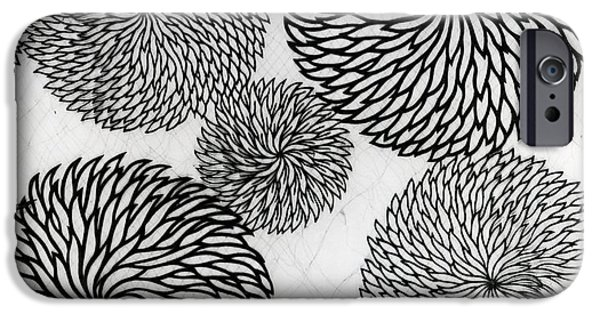 Black Tapestries - Textiles iPhone Cases - Chrysanthemums iPhone Case by Japanese School