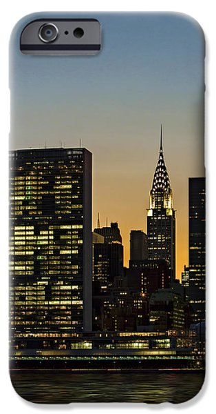 Chrysler iPhone Cases - Chrysler And UN Buildings Sunset iPhone Case by Susan Candelario
