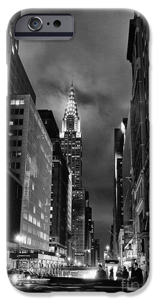 Chrysler iPhone Cases - Chrysler Buiilding in mist iPhone Case by John Farnan