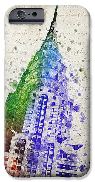 Downtown Mixed Media iPhone Cases - Chrysler Building iPhone Case by Aged Pixel