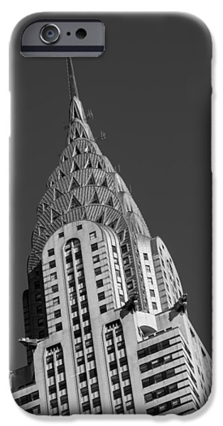 Chrysler iPhone Cases - Chrysler Building BW iPhone Case by Susan Candelario