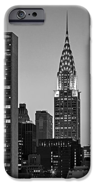 New York City iPhone Cases - Chrysler Building New York City BW iPhone Case by Susan Candelario