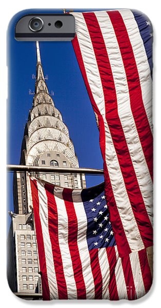 42nd Street iPhone Cases - Chrysler Flags iPhone Case by Brian Jannsen