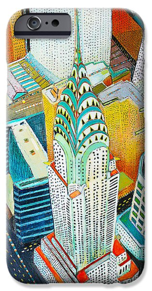 Buildings Mixed Media iPhone Cases - Chrysler of Manhattan iPhone Case by Habib Ayat