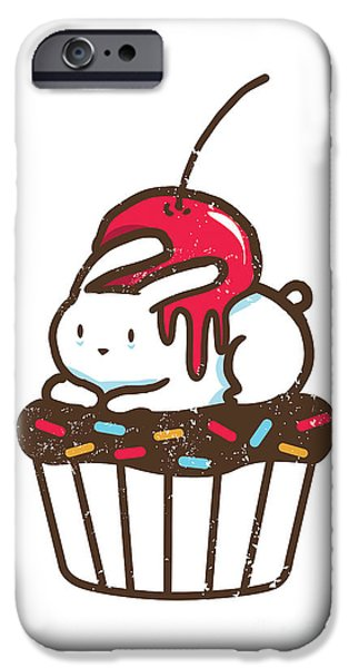 Cute. Sweet iPhone Cases - Chubby bunny on cupcake iPhone Case by Budi Kwan