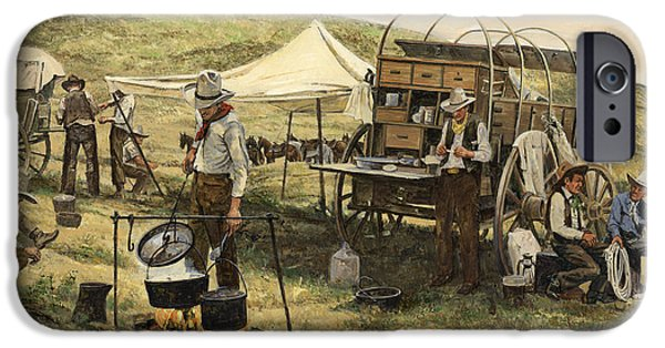 Camping iPhone Cases - Chuck Wagon iPhone Case by Don  Langeneckert