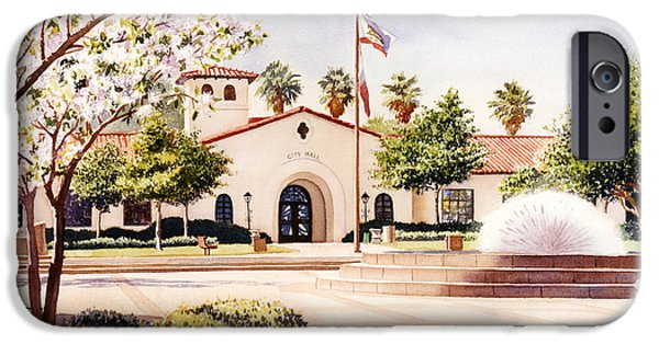American Flag Paintings iPhone Cases - Chula Vista City Hall iPhone Case by Mary Helmreich