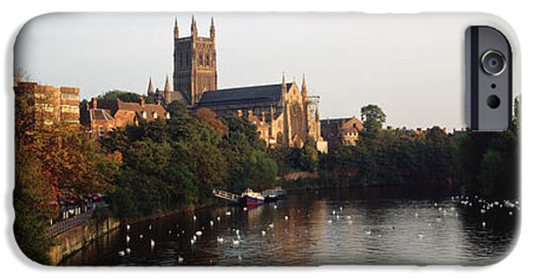 Swans... iPhone Cases - Church Along A River, Worcester iPhone Case by Panoramic Images