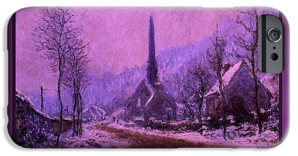 Forecast Mixed Media iPhone Cases - Church At Jeufosse Snowy Weather Enhanced triple border iPhone Case by Claude Monet - L Brown