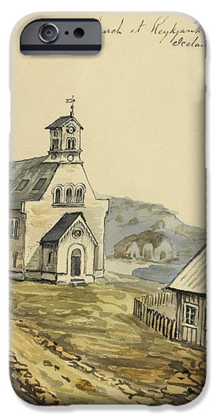 Jesus Drawings iPhone Cases - Church at Rejkjavik Iceland 1862 iPhone Case by Aged Pixel