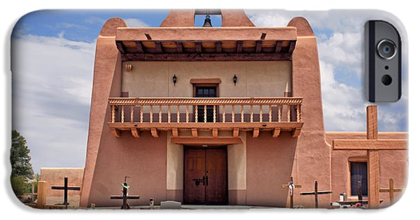 Pueblo Architecture iPhone Cases - Church at San Ildefonso iPhone Case by Nikolyn McDonald