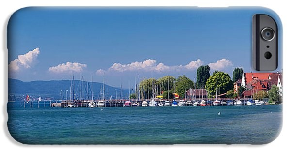 Sailboats iPhone Cases - Church At The Lakeside, Sipplingen iPhone Case by Panoramic Images