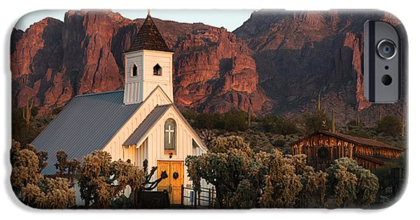 Lost iPhone Cases - Church at the Superstition Mountains Arizona iPhone Case by Dave Dilli