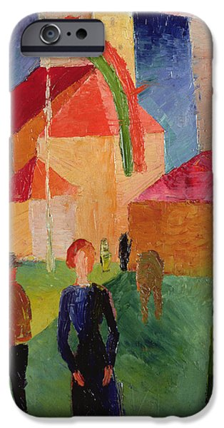 Figures Paintings iPhone Cases - Church Decorated with Flags iPhone Case by August Macke