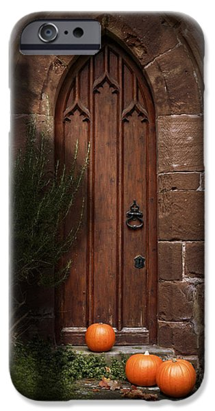 Creepy iPhone Cases - Church Door At Halloween iPhone Case by Amanda And Christopher Elwell