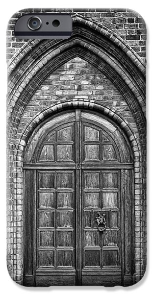 Church Door Monochromatic iPhone Case by Antony McAulay