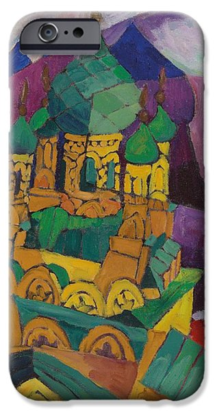 Green Geometry Art iPhone Cases - Church in Alupka iPhone Case by Aristarkh Vasilievic Lentulov